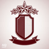Vector eps8 aristocratic symbol. Festive graphic shield with five stars and curvy ribbon - decorative luxury security template. Corporate branding icon Royalty Free Stock Photo
