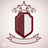 Vector eps8 aristocratic symbol. Festive graphic shield with five stars and curvy ribbon - decorative luxury security template. Corporate branding icon Stock Photos