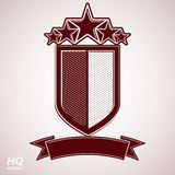 Vector eps8 aristocratic symbol. Festive graphic shield with five stars. And curvy ribbon - decorative luxury security template. Corporate branding icon Royalty Free Stock Photography