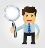Business man with Magnifying Glass Royalty Free Stock Photo