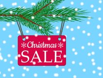 Vector eps 10 christmas sale banner with red poster with white text christmas sale hanging from spruce tree branch. Illustration for use website, brochure vector illustration