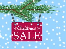 Vector eps 10 christmas sale banner with red poster with white text christmas sale hanging from spruce tree branch. Illustration for use website, brochure stock illustration