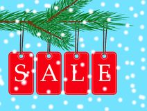 Vector eps 10 christmas sale banner with red posters with white text sale hanging from spruce tree branch. Illustration. For use website, brochure, flyer stock illustration