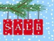 Vector eps 10 christmas sale banner with red posters with white text sale hanging from spruce tree branch. Illustration. For use website, brochure, flyer royalty free illustration