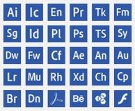 Vector eps10 de los iconos del adobe de los programas de los logotipos stock de ilustración
