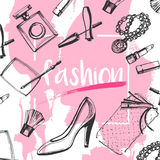 Vector, EPS 8, fashion, drawing, sketch, clutches, shoes, lipstick, mascara, perfume, jewelry, eye shadow, pencils, pink. Vector, EPS 8, fashion, drawing, sketch Royalty Free Stock Photo