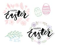 Vector EPS10 hand written lettering illustration for happy easter banner, poster, sale invitation template with colorful eggs in. Wreath form in cartoon vector illustration