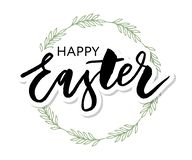 Vector EPS10 hand written lettering illustration for happy easter banner, poster, sale invitation template with colorful eggs in. Wreath form in cartoon royalty free illustration