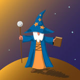 Vector EPS10 illustration cartoon old wizard. With magic book and staff preparing to cast a spell on abstract little planet surface against space with stars vector illustration