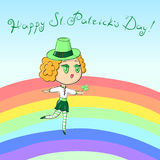 Vector EPS10 illustration ginger irish girl in leprechaun hat dancing over the rainbow with shamrock in hand Royalty Free Stock Photography