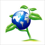Vector EPS 10 Isolated Earth and small plant Stock Photos
