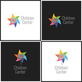 Vector eps logotype or illustration children education center in outline style Royalty Free Stock Photography