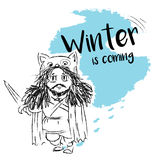 Vector EPS 8., Winter is coming, cartoon character in a fur coat with a sword in a funny hat. Postcard. Illustration Stock Images