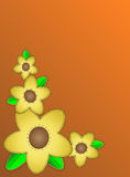 Vector Eps10 Orange Copy Space with Yellow Flowers. Vector eps10 orange copy space with a corner design of yellow black eyed susans trimmed in quilting stitches Royalty Free Stock Image