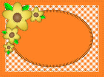 Vector Eps10.  Oval Orange Copy Space with Yellow. Vector eps10.  Oval orange copy space with gingham matting, quilting stitches and yellow flowers Royalty Free Stock Image