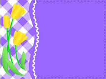Vector Eps10 Purple Copy Space, Gingham and Yellow. Vector eps10 purple copy space with a side white gingham and ric rac trim below yellow tulips accented with vector illustration