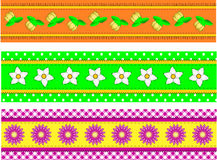 Vector EPS10 Three Flower Borders with Dots, Gingh Stock Photos