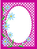 Vector Eps10 White Oval Copy Space with Flowers an. Vector eps10 white oval copy space trimmed in ric rac on top of a pink gingham background trimmed with blue Stock Image