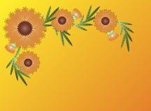 Vector Eps8 Zinnia Flower Border op Geeloranje Royalty-vrije Stock Afbeelding