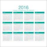 Vector español 2016 del calendario Fotos de archivo libres de regalías