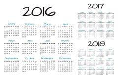 Vector español del calendario 2016-2017-2018 Imagen de archivo libre de regalías