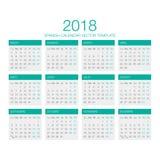 Vector español 2018 del calendario Foto de archivo