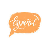 Vector Espanol calligraphy, spanish translation of Spanish word. Hand lettering in speech bubble Stock Photo