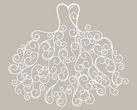 Vector estilizado dibujado mano del vestido de boda del remolino Imágenes de archivo libres de regalías