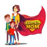 Vector estupendo de la mamá La madre le gusta el superhéroe con los niños Historieta plana aislada Illudtration stock de ilustración