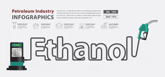 Vector ethanol typographic pump nozzle creative design. Ethanol typographic pump nozzle creative design, Fuel pump icon, Petrol station sign, vector illustration Royalty Free Stock Images