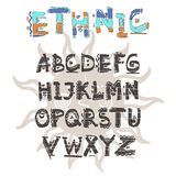 Vector Ethnic alphabet. Hand drawn letters. Letters of the alphabet written with a water based marker Stock Images