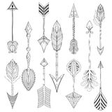 Vector ethnic Arrows set in zentangle design,concept. Hand drawn Royalty Free Stock Image