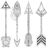 Vector ethnic Arrows in zentangle design,concept. Hand drawn Ame. Rican illustration for t-shirt tribal print. Henna black tattoo art Stock Photo