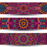 Vector ethnic banner set. Festive colorful ornamental vector ethnic banner set Royalty Free Stock Photography