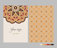 Vector ethnic card template. Template card with symmetrical ethnic pattern for invitation, greetings, banners or brochures, orange red brown black, vector Royalty Free Stock Images