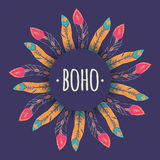 Vector ethnic illustration with feather frame in boho style Stock Photos