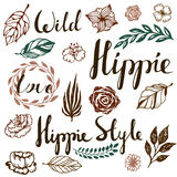 Vector ethnic ink set with boho hippie style element. Templates for invitations, scrapbooking. hand drawn design. Vector ethnic ink set with boho hippie style Stock Photos