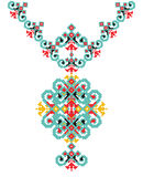 Vector Ethnic necklace Embroidery for fashion women. Pixel tribal pattern print design Royalty Free Stock Photo