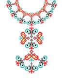 Vector Ethnic necklace Embroidery for fashion women. Pixel tribal pattern print or web design, jewelry. Fabric royalty free illustration