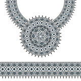 Vector Ethnic necklace Embroidery for fashion women. Pixel tribal pattern for print or web design. jewelry, necklace Stock Images