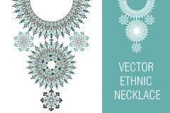 Vector Ethnic necklace Embroidery for fashion women. Stock Photo