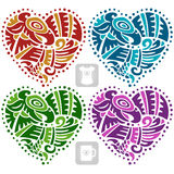 Vector ethnic ornament in the shape of heart. American Indians Royalty Free Stock Photography