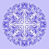 Vector ethnic pattern of blue ornament. With lace filigree elements for design Royalty Free Stock Image