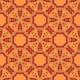 Vector ethnic seamless pattern. Circular ethnic abstract pattern with red, orange, beige elements, brown contour decorative texture symmetric seamless pattern Stock Image