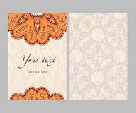 Vector ethnic sided card. Postcard with circular ethnic pattern for invitations, congratulations, banner, brochure, brown, beige, orange red vector illustration Royalty Free Stock Image