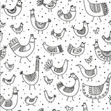 Vector ethnic style linear birds seamless pattern Royalty Free Stock Photography