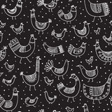 Vector ethnic style linear birds seamless pattern Royalty Free Stock Photos