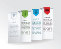 Vector etiket - gevouwen document met vier kleurrijke linttekens en Stock Foto's