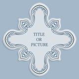 Vector a etiqueta, quadro para uma inscrição, ornamento caligráfico do vintage, molde para cortar o papel, efeito 3D Fotos de Stock Royalty Free