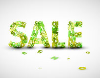 Vector a etiqueta verde da venda feita das letras Imagem de Stock Royalty Free
